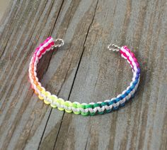 Rainbow White Macrame Cuff Bracelet by TheShimmeringPalace on Etsy, $9.99