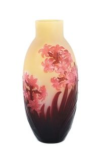 Lot 581: Galle hyacinth cameo glass vase.  Est.  $4,000-6,000