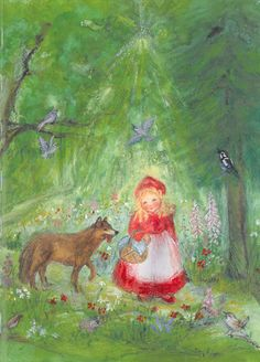 A beautiful illustration from Little Red Riding-Hood by the Brothers Grimm and illustrated by Marjan zan Zeyl - Floris Books