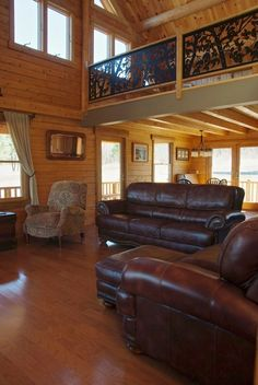 Log Home Hybrid Living Room with leather furniture Cedar Homes, Log Homes, Log Siding, Log Home Designs, Cedar Log, Leather Furniture, Home Photo, Next At Home, Sitting Area