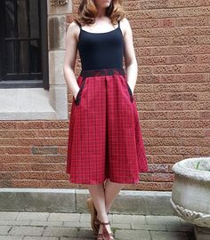 Red Cotton Plaid Midi Skirt with Lace Pockets item от 1SKiRTunique