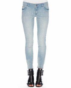 MICHAEL Michael Kors  Crystal-Stud Skinny Jeans.