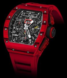 """This just in: Richard Mille RM 011 RED TPT Quartz Watch – by Ariel Adams – learn more about this red beast now at aBlogtoWatch.com """"The famed Richard Mille RM 011 watch gets yet another limited edition version, this time using a stunningly bold red 'TPT quartz' case for the Richard Mille RM 011 RED TPT Quartz watch. What is TPT quartz?"""" ...find that out now in our debut article..."""