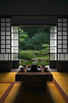 intérieur japonais, meubles japonais, porte coulissante de style japonais