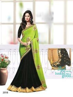 Black , green embroidered georgette saree with blouse
