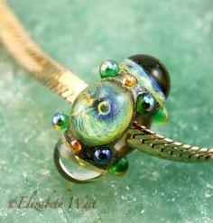Bahama Seas Galaxy 1156 betsybeads Lampwork Beads Large Hole Bead Pandora Handmade Glass Bead BHB SRA by betsybeads for $13.00