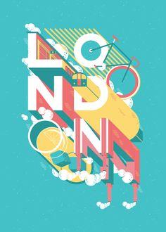 """""""London""""のモチーフと文字が融合したような面白いグラフィック。かっこいい。(via London)"""