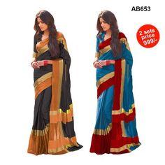 COMBOS-Cotton Silk Sarees - SRP-Himansi Black , SRP-Himansi Blue