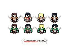 Attack on Titan Perler Sprites by ShowMeYourBits on Etsy, $3.00 - $20.00 (These…