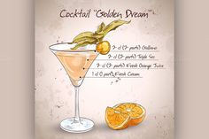 Alcoholic Cocktail Golden dream by Netkoff on Creative Market