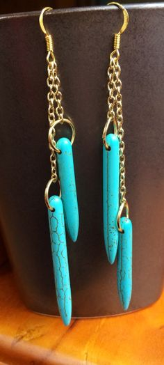 Turquoise Spike Statement Earrings Gemstone Fringe by JewelrybyRJ, $24.99