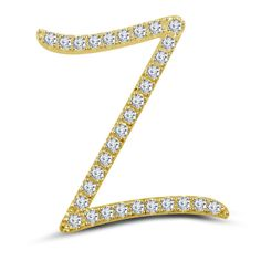 14k Yellow Gold On 925 Sterling Silver Round Cut White Diamond Z Initial pendant #adorablejewelry #ZInitalPendant