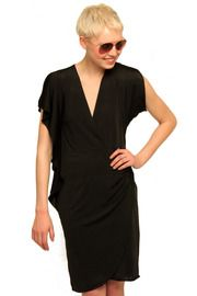 Black dress and short hair