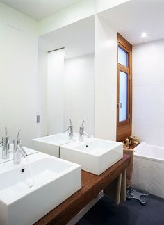 Bathroom, Astonishing Pics Of Cost To Remodel Bathroom And Wood Bathroom Plus White Bathroom Design Ideas And White Double Sink And Large Mirror Also White Bathtub With Chrome Faucet Plus Wooden Door And Grey Floor: Some Involved Variables Cost to Remodel Bathroom