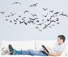 Vinyl Wall Decal Sticker Flying Birds #793 | Stickerbrand wall art decals, wall graphics and wall murals.