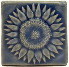 Handmade Art Tiles Ceramic | Sunflower 3x3 Handmade Ceramic Art Tile Watercolor Blue Glaze