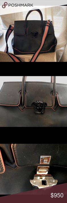 Versace LARGE Medusa empire bag with dust bag. Gently used. Gorgeous Italian leather navy and pink handbag with wide webbed strap. Large enough to hold a tablet or laptop! Versace Bags Shoulder Bags