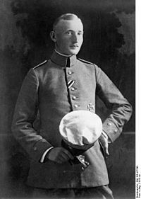 Albert Leo Schlageter (12 August 1894 – 26 May 1923) was a member of the German Freikorps. His activities sabotaging French occupying troops after World War I led to his arrest and eventual execution by French forces. His death created an image of martyrdom around him, which was cultivated by German nationalist groups, in particular the Nazi Party. During the Third Reich, he was widely commemorated as a national hero.