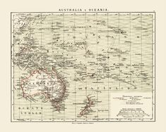 Map of Australia and Oceania, ca 1876 - read our story about the colonization of Oceania. Antique Maps, Vintage Maps, Pirate Maps, Australia Map, Map Design, Portuguese, Dutch, Spanish, British