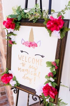 & Unicorns Birthday Party Unicorn Welcome Sign from a Flowers & Unicorns Birthday Party on Kara's Party Ideas Party Unicorn, Unicorn Themed Birthday Party, Unicorn Birthday Parties, First Birthday Parties, Birthday Party Decorations, Unicorn Cupcakes, Bday Girl, 1st Birthday Girls, Birthday Ideas