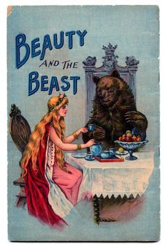 Vintage book cover  beauty and the beast