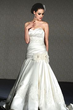 Trumpet / mermaid sleeveless satin floor-length bridal gown