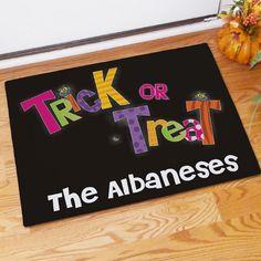 Trick or Treat Halloween Doormat | monogrammedwithstyle.com