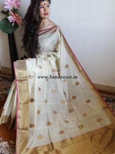 Banarasee/Banarasee Pure Handloom Silk Cotton Sari With Golden Border- Off White