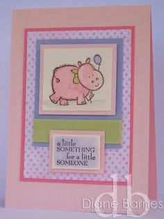 Stampin Up Hippo baby card  - by colour me happy