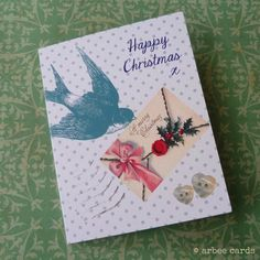 Victorian Bird Pack of 5 Christmas cards on Etsy, £4.05