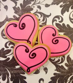 Sweet Pink Valentine heart sugar cookies 1 dozen by LaPetiteCookie
