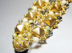 READY TO SHIP Matte Gold Studded Beadweaving Bracelet by WhimsyBeading, $50.00