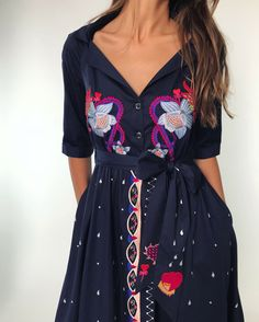 Taking cues from classic shapes, the cotton sateen Divine Wrap Dress is belted for a flattering waist-defining look and detailed with threadwork embroidery. Tapping into Spring alchemy theme, this midnight blue day dress features references to Day Dresses, Casual Dresses, Long Dresses, Couture, Playsuits, Wrap Dress, Cold Shoulder Dress, Shirt Dress, Boho