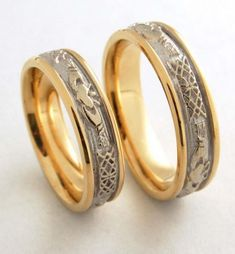 rune engraved Gothic wedding ring- pagan themed rings. Beautiful stuff!