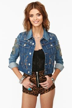 Jeweled Denim Jacket--WITH SLACKS IN THE SAME PRINT OR MAYBE A LONG SKIRT!!!!!!