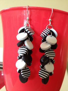 Black and white polymer clay earrings.