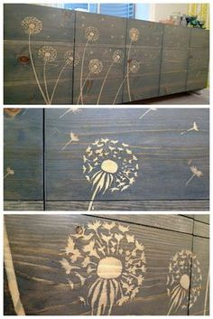 Use wood glue and a stencil to block the stain.  Would make a beautiful background for signs!