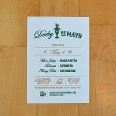 Party Invitation // Gocco printed green and gold // Design, Content and Printing by Michaela Pariseau // Derby de Mayo (Cinco de Mayo meets Kentucky Derby party) // custom designed chihuahua trophy icon