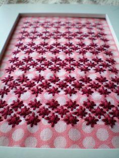 Embroidery on polka dot fabric