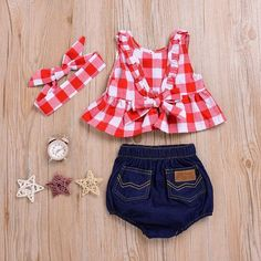 SWNONE Baby Girls Plaid Ruffle Bowknot Tank Top Denim Shorts Headband Outfit Red 06 Months -- You can find out more details at the link of the image. (This is an affiliate link) Cute Baby Girl Outfits, Girls Summer Outfits, Toddler Outfits, Baby Kind, My Baby Girl, Baby Girls, Baby Girl Newborn, Baby Girl Fashion, Kids Fashion