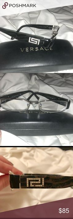 Versace Glasses Versace glasses. They do have a RX in them. Take note of the picture showing two crystals missing.  Used, but in very good condition. I am wanting to sell these, so I can purchase a new pair. Versace Accessories Glasses