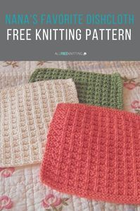 They don't call it Nana's Favorite Dishcloth Pattern for nothning! This incredibly easy knit dishcloth pattern is perfect for beginners. For more Free knitting ideas, head to Knitted Dishcloth Patterns Free, Knitted Washcloths, Easy Knitting Patterns, Loom Knitting, Free Knitting, Crochet Patterns, Easy Knitting Ideas, Simple Knitting, Cowl Patterns