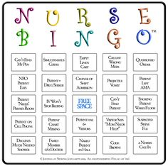 hilarious version of bingo to play with your nursing class before graduating, recalling all of these things that you could have possibly encountered during nursing school!