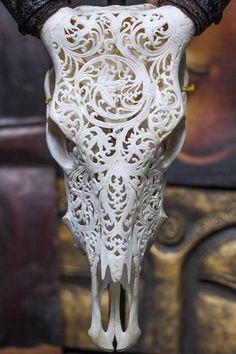 Carved skull design