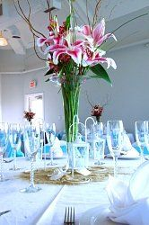 Flowers, Reception, Pink, Centerpiece, White, Green, Blue, Inspiration, Board