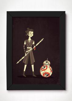 Poster Rey e BB-8 - Star Wars - Meu Adorável Iglu