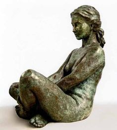 Bronze Garden Or Yard / Outside and Outdoor sculpture by artist Anne Curry titled: 'Naiad 2 (bronze nude Damsel/Naiad Girl garden statue/sculpture)'