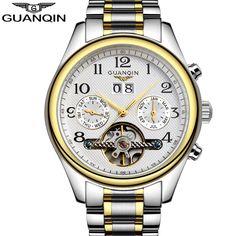 relogio masculino Famous Brand GUANQIN Automatic Self-Wind Men Sport Watch Mens Tourbillon Date Waterproof Full Steel Wristwatch