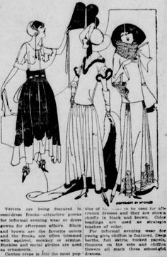 Semi-formal styles for ladies from the December 16, 1922 Seattle Star.