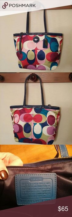 """Coach purse NWOT!  Beautiful COACH purse in their colorful scarf pattern!  Awesome colors of red, turquoise, lime green, pink, navy, magenta, and lilac!!!  Leather trim and leather handles with an 8"""" drop.  Purse measures 14x10, has 2 small inside pockets for cell phone, etc., and a large inside zip pocket as well.  Bought off Coach website...I kind of bought a few too many purses!!  Older daughter is sticking with a purse her husband bought her and younger daughter now prefers a wristlet…"""